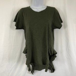 Black Orchid Olive Green Unfinished Ruffle Shirt
